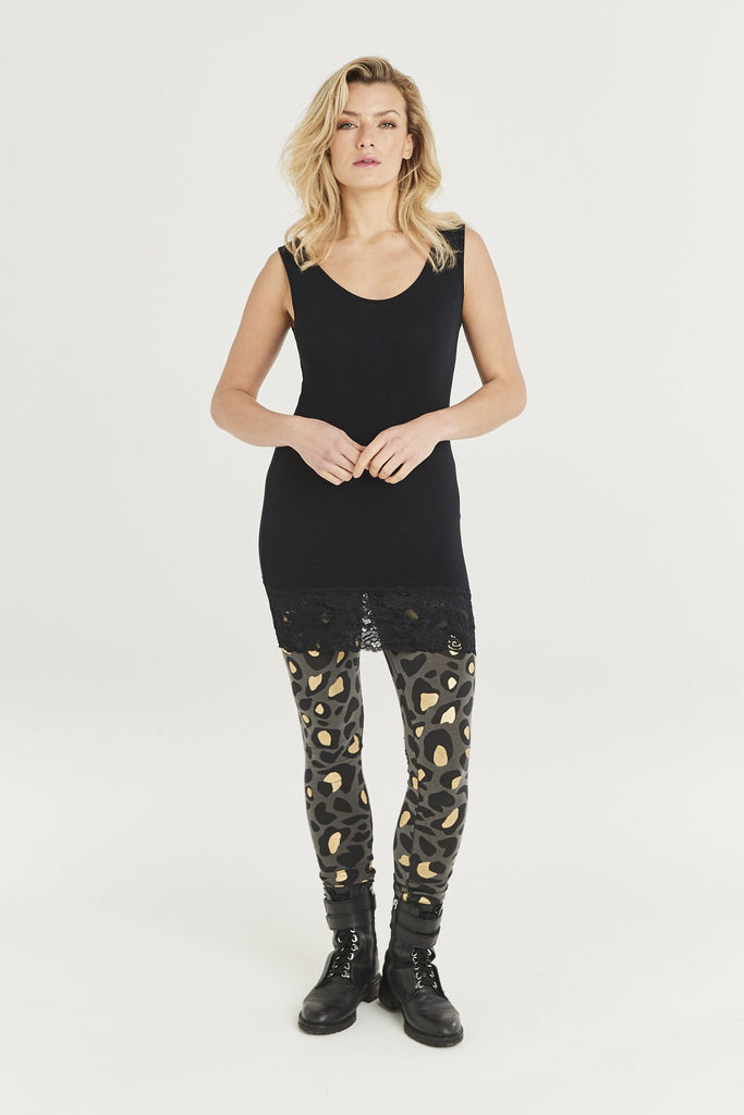A Postcard From Brighton Gina Animal Print Leggings Charcoal