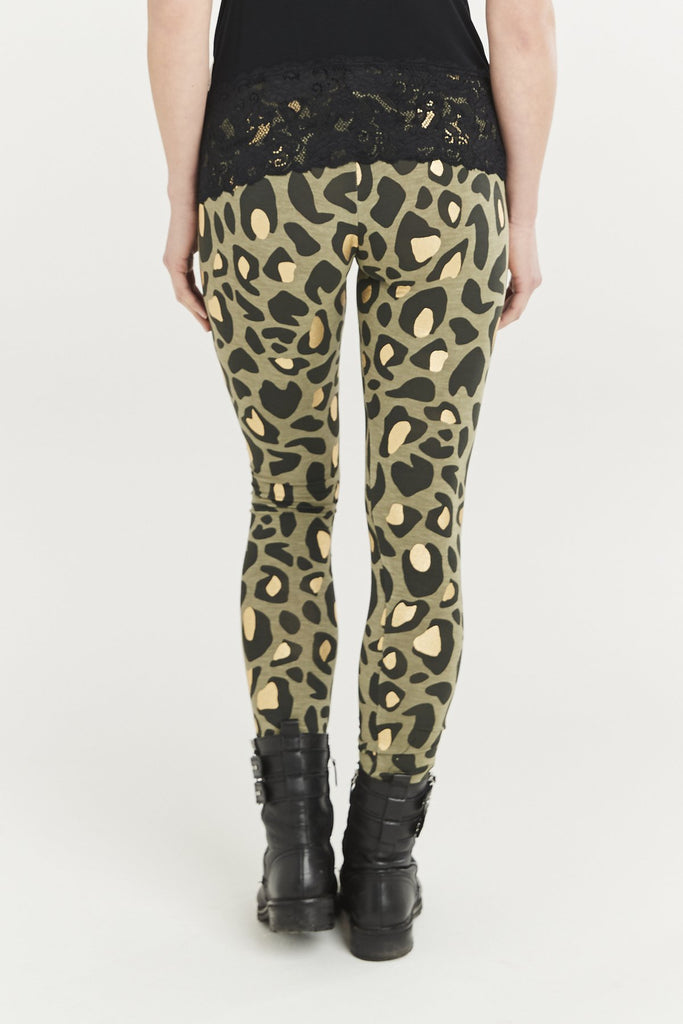 A Postcard From Brighton Gina Animal Print Leggings Khaki