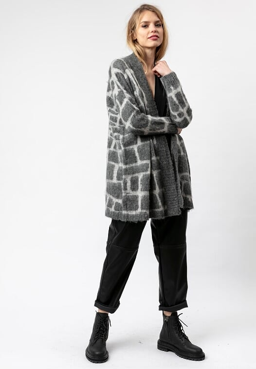 Religion Favour Long-Sleeved Cardigan Charcoal