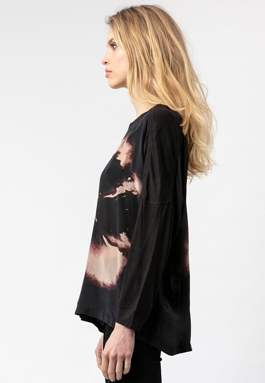 Religion Imprint Long-Sleeved Top Virtue