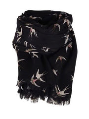 SAINT TROPEZ Bird Print Large Scarf, Navy