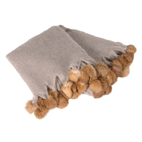 Love Layers Cosy Home Luxury Wool Mix with Fur Pom Pom Throw Beige