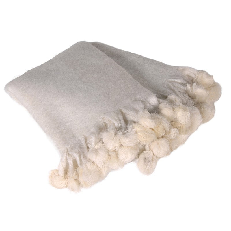 Love Layers Cosy Home Wool Mix Pom Pom Throw Winter White