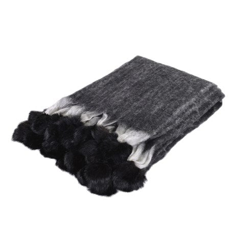 Black wool pom pom throw with fur tassels