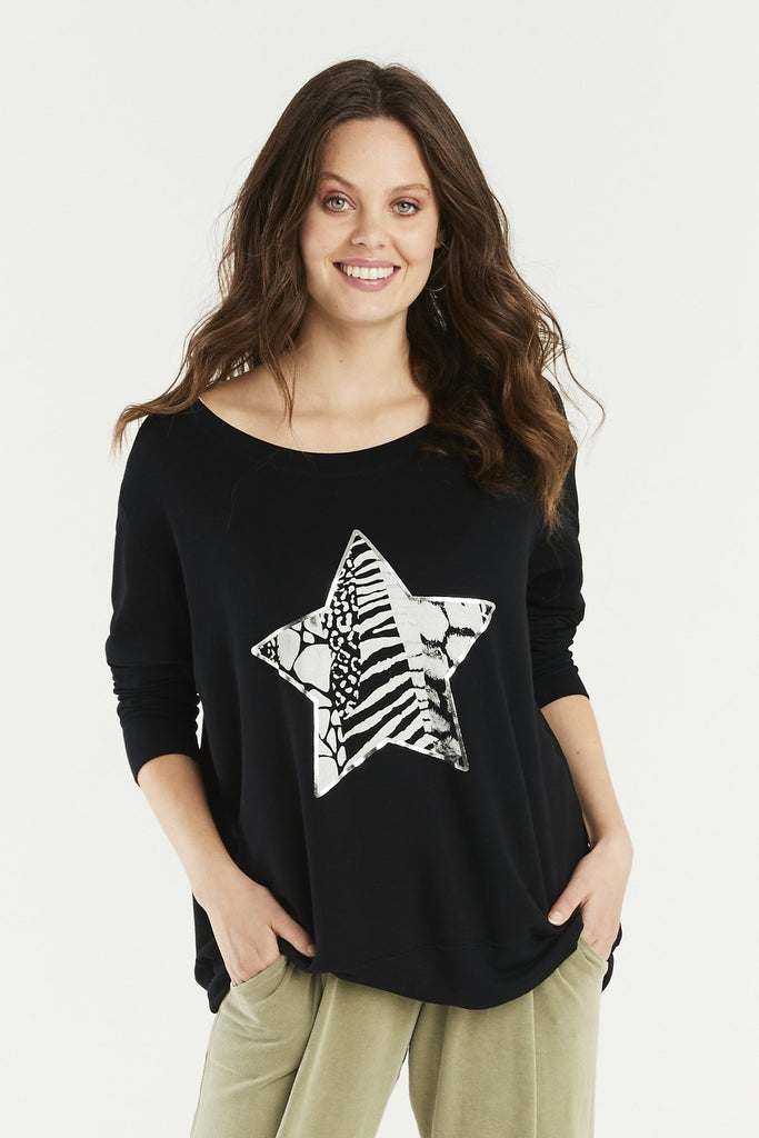 A Postcard From Brighton Animal Print Star Sweat Black