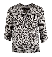 SAINT TROPEZ Long Sleeve Shirt Multi Black/White