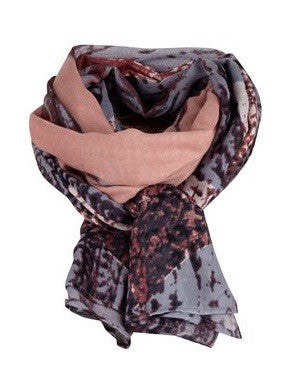 SAINT TROPEZ Feather Print Large Scarf, Multi Pink / Blue