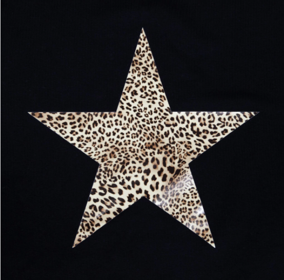 Chalk Robyn Long Sleeve Top Black Leopard Star