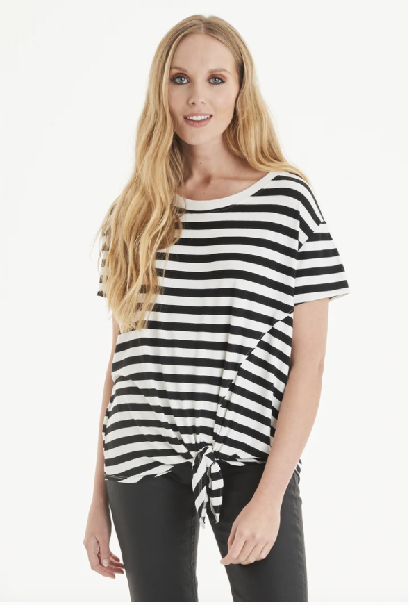 A Postcard From Brighton Honor Stripe Tie Front Tee Daisy White