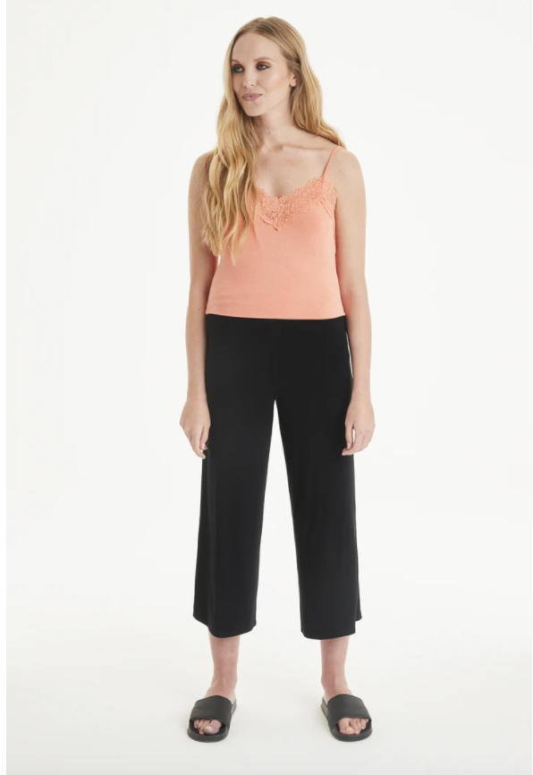 A Postcard From Brighton Palz 3/4 Palazzo Trousers Black