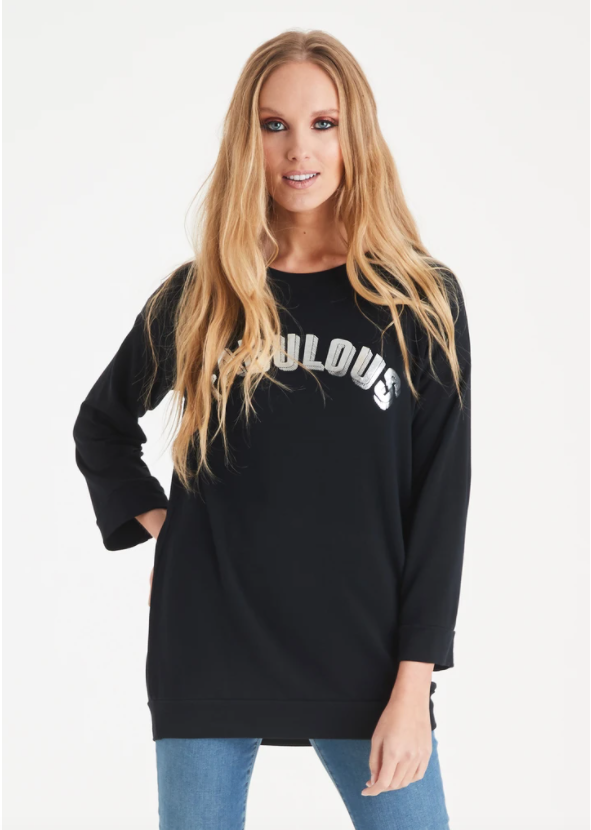 A Postcard From Brighton Fabulous Print Tee Black