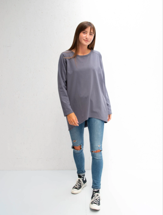 Chalk Robyn Long Sleeve Top Charcoal