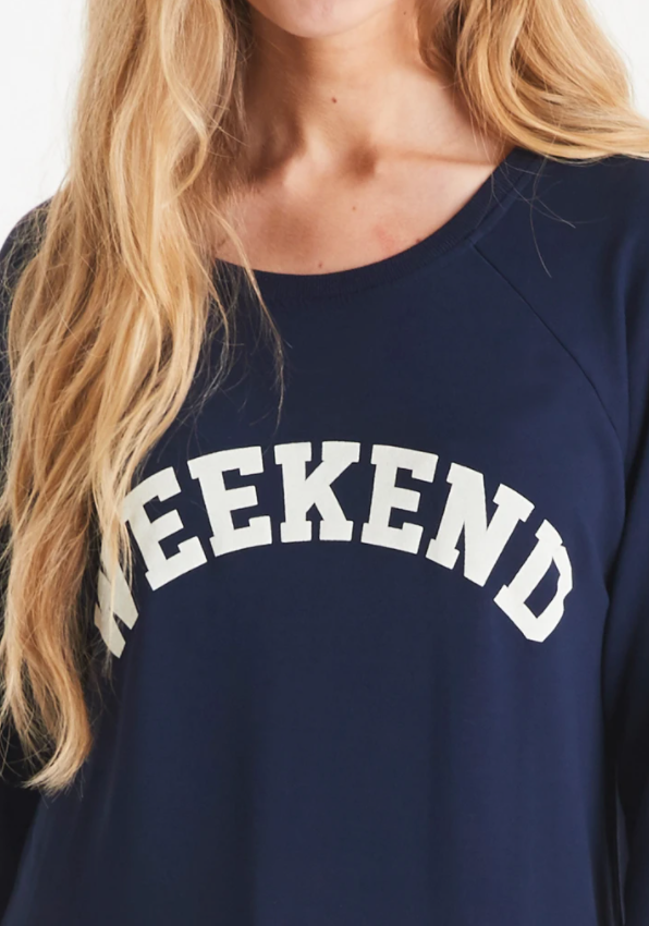 A Postcard From Brighton Weekend Print Sweat Navy