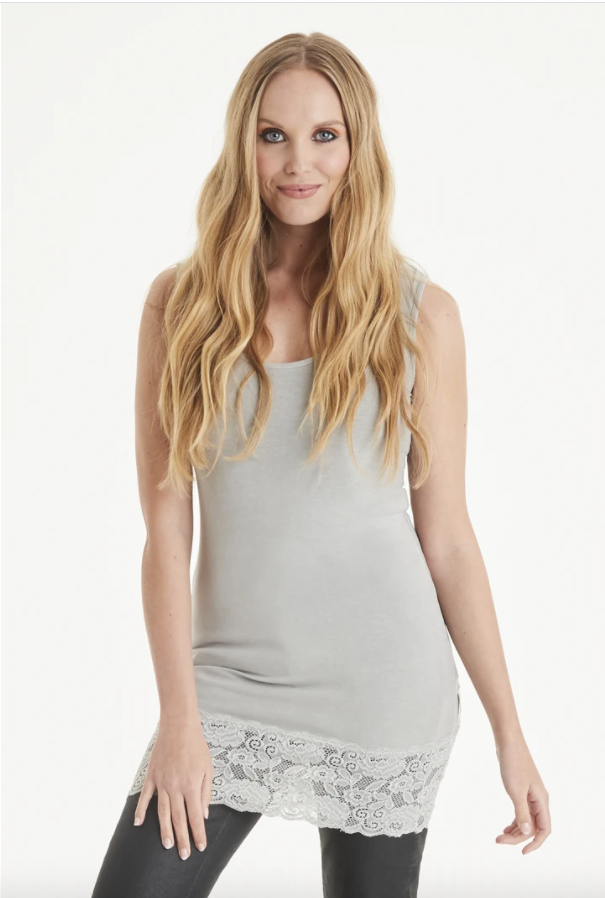 A Postcard From Brighton Sammy Long Vest with Lace Hem Ash Grey