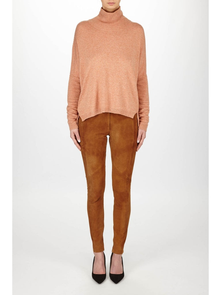 JUST FEMALE Carla Roll Neck Jumper Toasted Nut