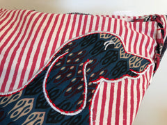 Love Layers Embroidered Dachshund Red Striped Cushion Cover OCE009