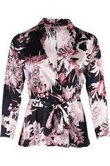 Saint Tropez Kimono with Big Flower Print, Red / White