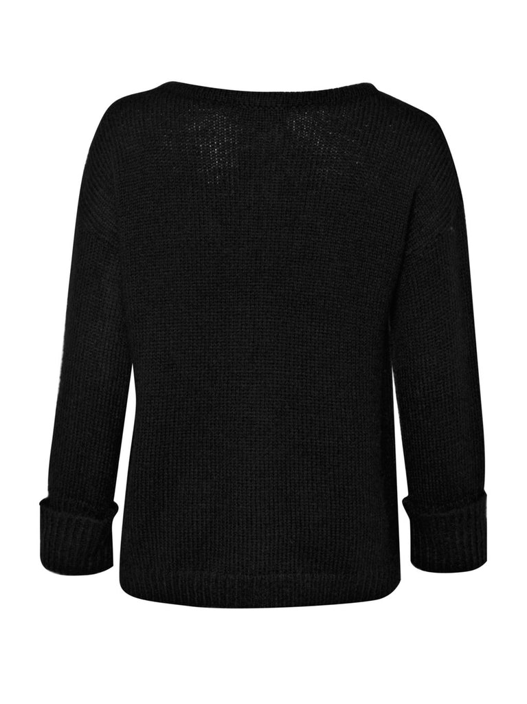 Great Plains Fancy Nancy Crop Long Sleeve Mohair Knit Zipped Cardigan Black