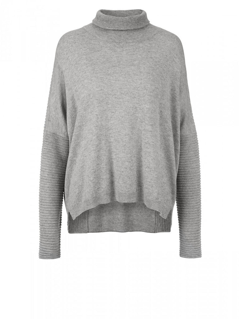 JUST FEMALE Carla Roll Neck Jumper Grey Melange