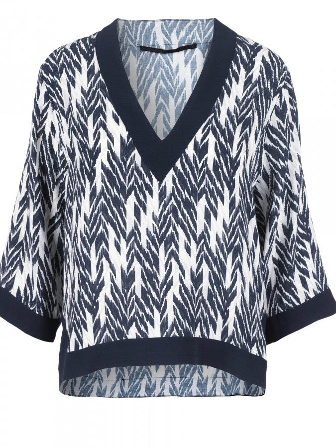 JUST FEMALE Ikat Top Blue/White