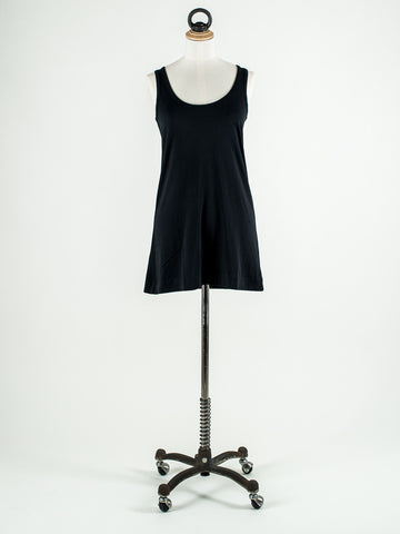 Lilla P Long Scoop Neck Tank Black