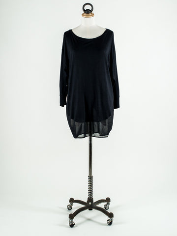 Great Plains Romy Jersey Contrast Slouchy Long Sleeve Top Black
