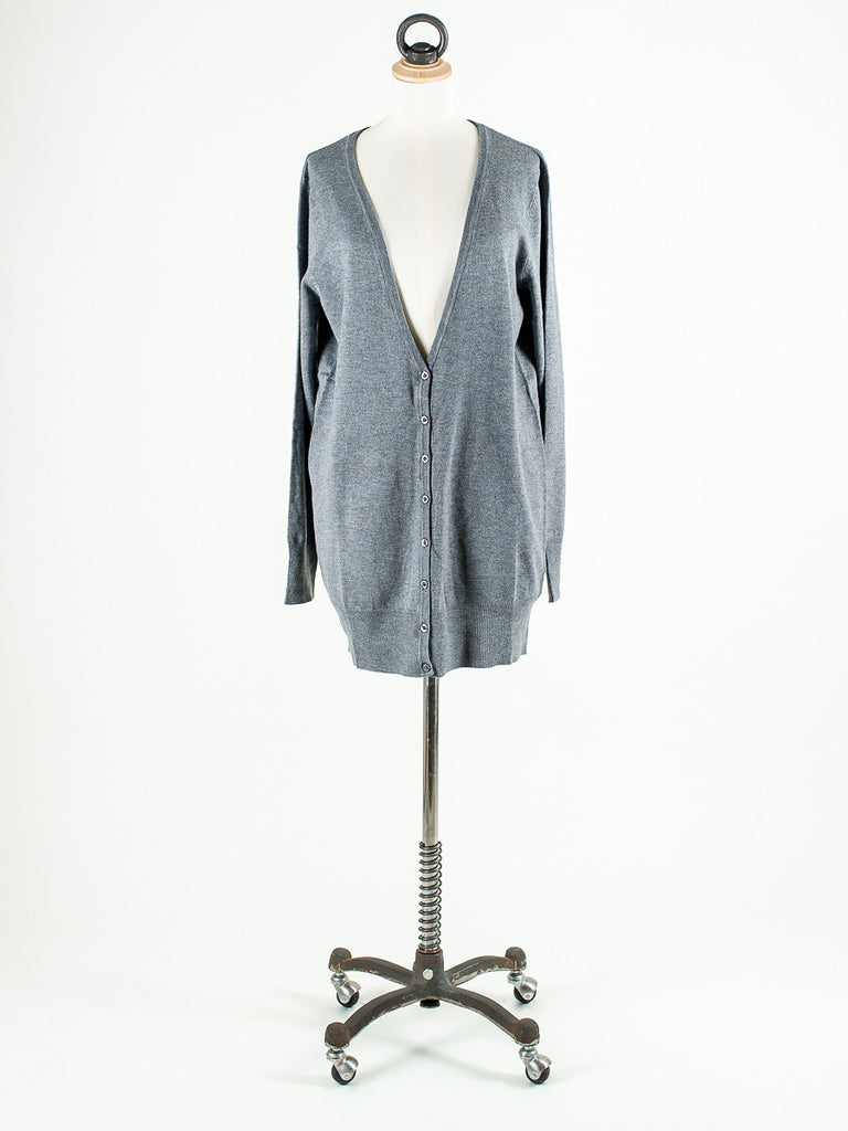 b.young Longline and long sleeved Cardigan Mid Grey