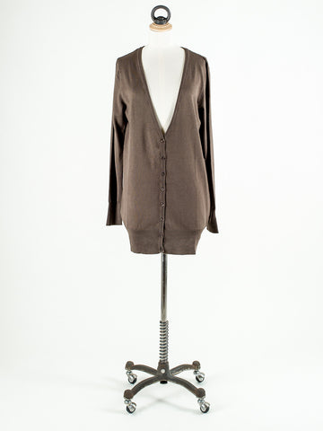 b.young Longline and long sleeved Cardigan Hazel Brown