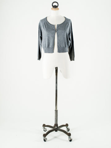 b.young Soft Knit Short Cardigan Grey