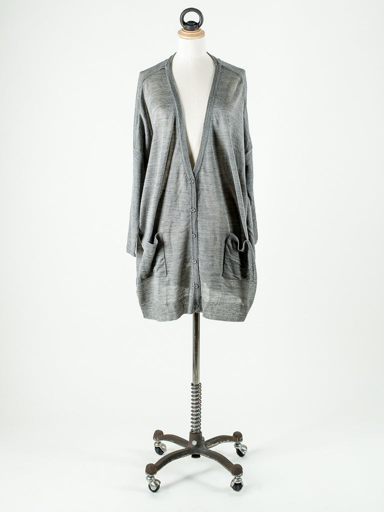 Saint Tropez Fine Knit Loose Fit Cardigan Grey