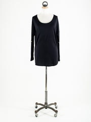 Saint Tropez Loose Fit T-Shirt with Long Sleeves Black