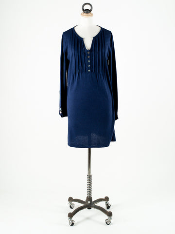 Saskia Thea Keyhole Neck Long Sleeve Tunic Navy