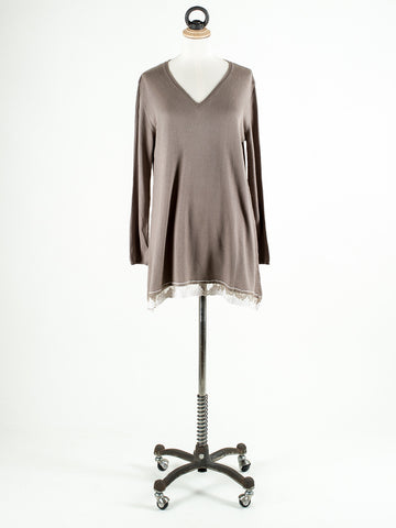 Saskia Liberty V Neck Jumper with Lace Trim Cappaccino