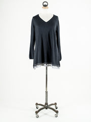 Saskia Liberty V Neck Jumper with Lace Trim Black