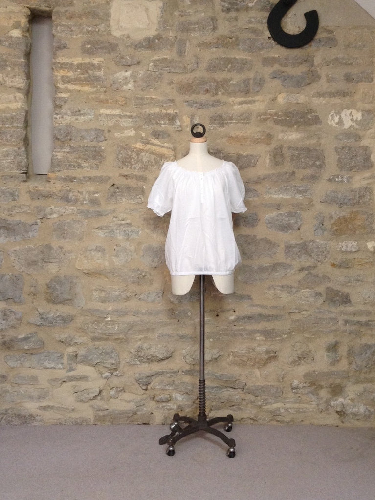 b.young Gathered Neck Short Sleeve Cotton Top White