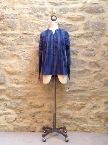 Plus Fine Oxaca Long Sleeve Striped Shirt Blue