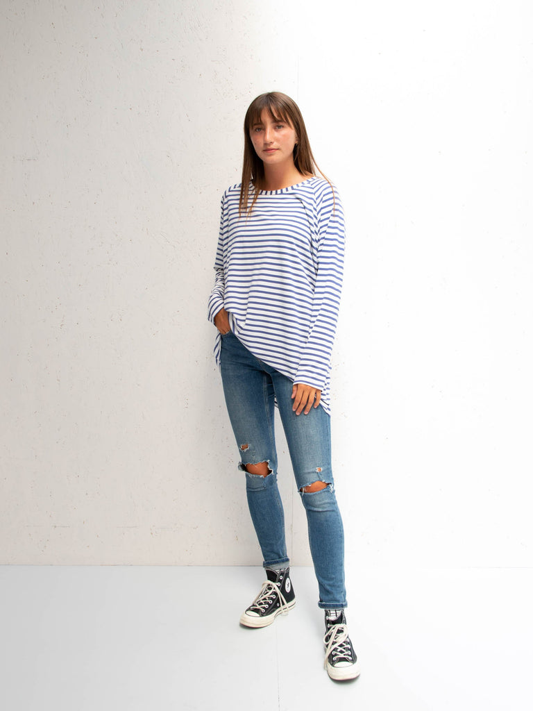 Chalk Robyn Long Sleeve Top Blue Stripe