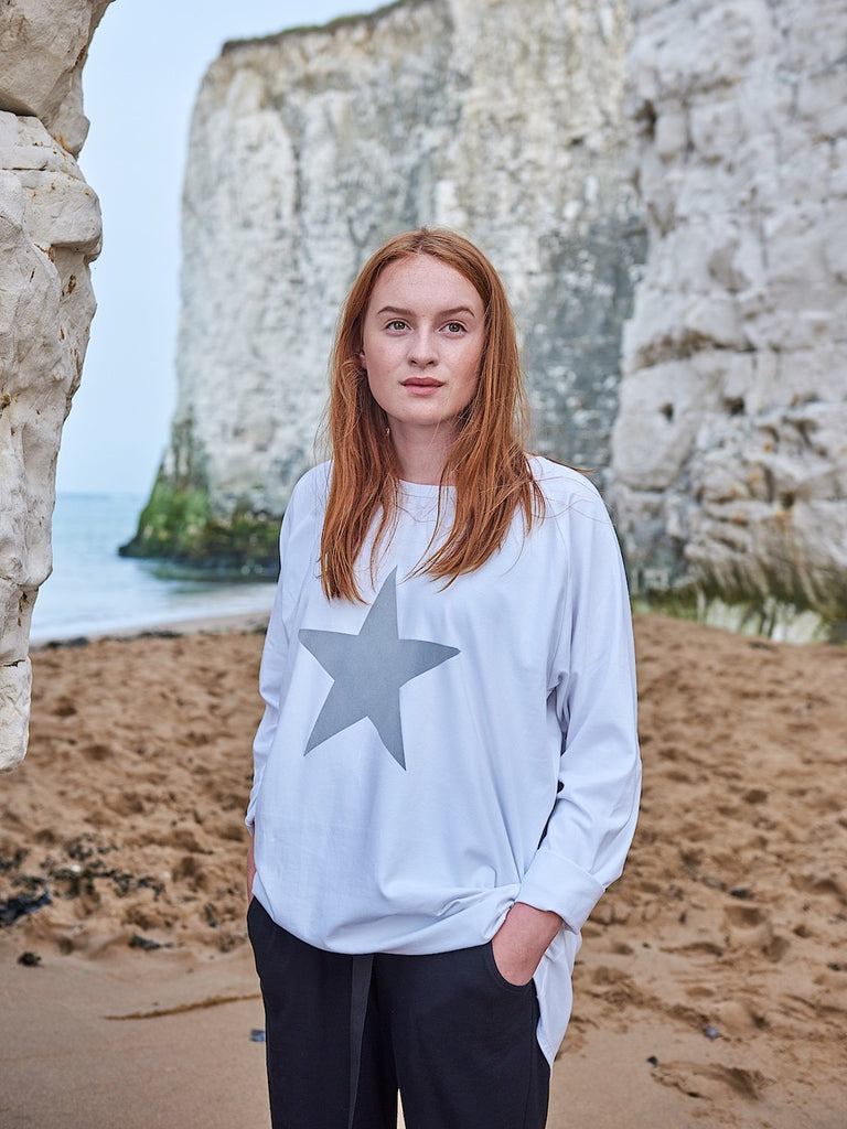 Chalk Robyn Long Sleeve Top White Grey Star