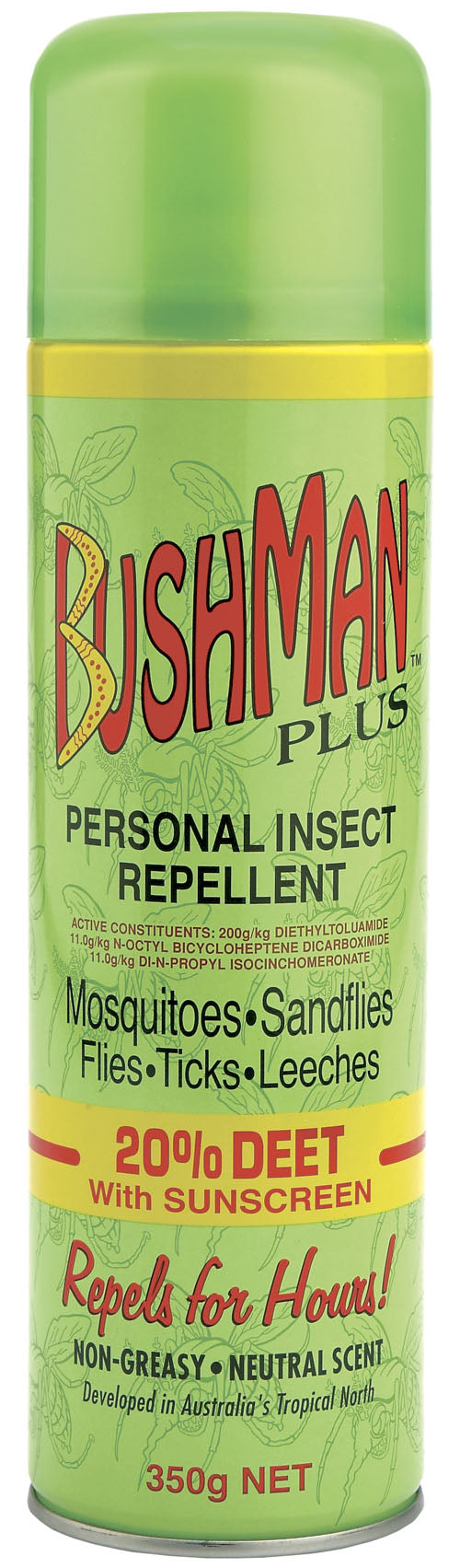 Bushmans Plus 350g Aerosol 20% Deet With SPF