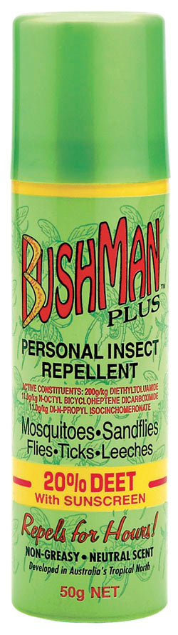 Bushmans Plus 50g Aerosol 20% Deet With SPF