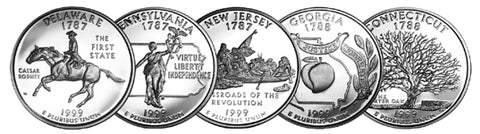 1999 Delaware - Pennsylvania - New Jersey - Georgia - Connecticut State Quarters