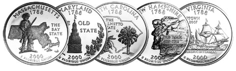 2000 Massachusetts - Maryland - South Carolina - New Hampshire - Virginia State Quarters
