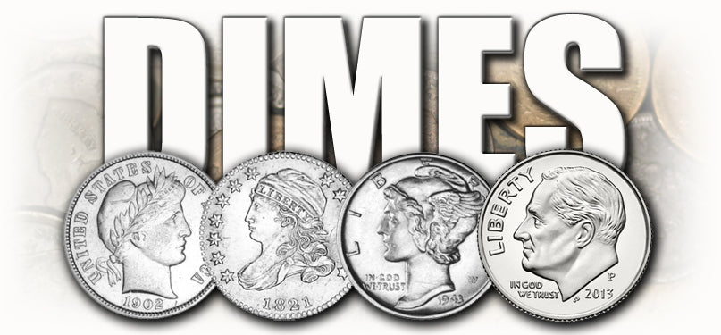 bust dimes, seated liberty dimes, barber dimes, mercury dimes, roosevelt dimes