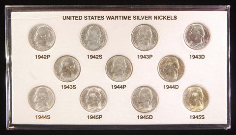 1942-1945 PDS Silver Wartime Nickel Sets