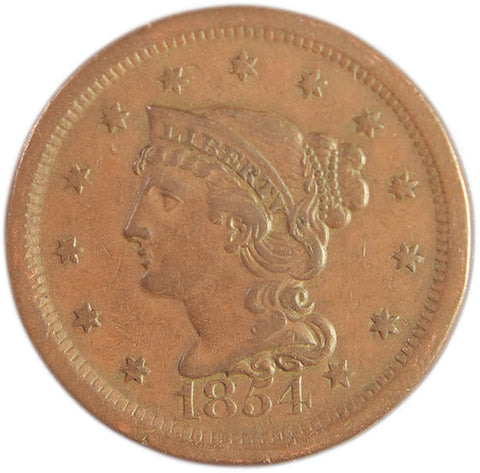 1854 Braided Hair Large Cent <br>XF/AU