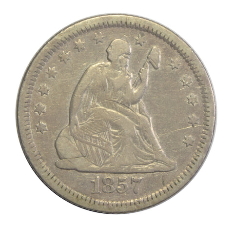 1857-O Seated Liberty Quarter <br>VF/XF