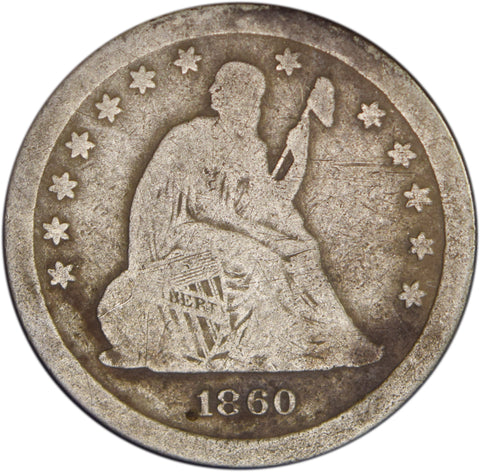 1860-S Seated Liberty Quarter <br>Good