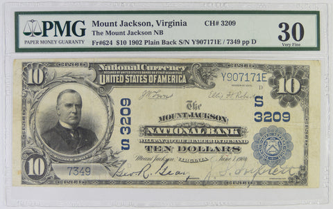 Virginia $10.00 1902 Mount Jackson National Bank, VA #3209