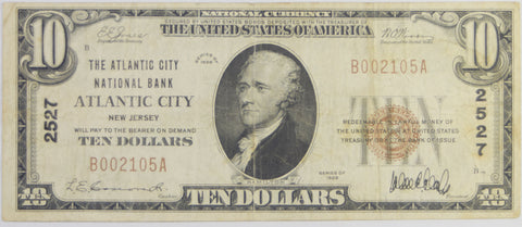 New Jersey $10.00 1929 Type 1 Atlantic National Bank of Atlantic City, NJ #2527