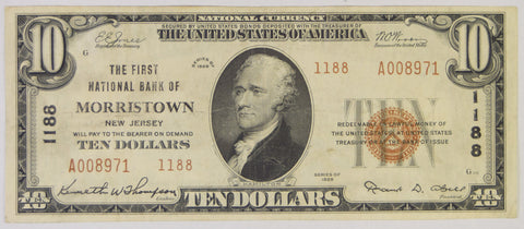 New Jersey $10.00 1929 Type 2 The First National Bank of Morristown, NJ #1188